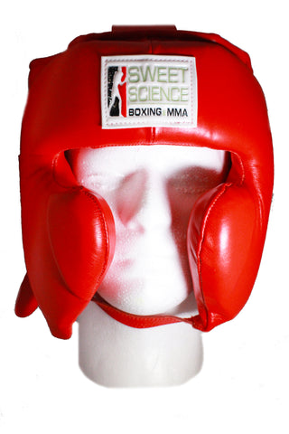 Sweet Science Boxing & MMA Leather Youth Headgear with Cheek Protectors - for ages 12-18 years old