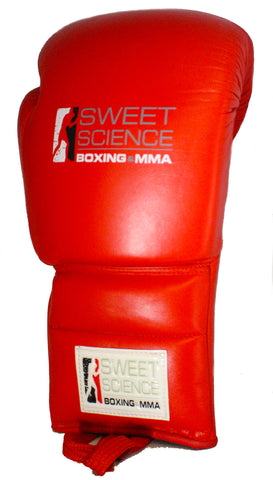 Sweet Science Boxing - 16oz Lace-up Sparring Gloves - All Leather Red
