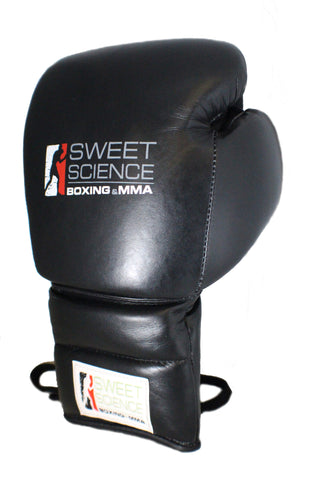 Sweet Science Boxing - 12oz Lace-up Sparring Gloves - All Leather Black