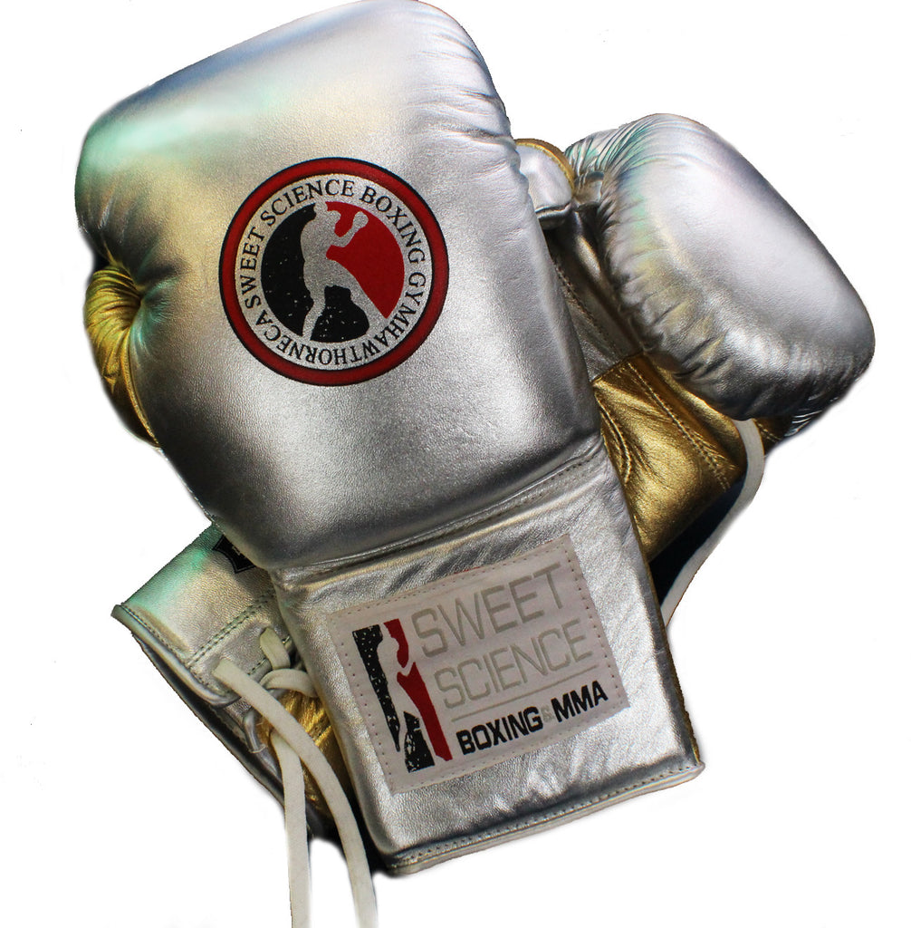 Sweet Science Boxing Elite Pro Fight Glove - Silver and Gold