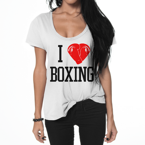 Sweet Science Boxing Womens Boxing Flowy T-Shirt: I Love Boxing - Sweet Science Boxing