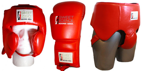 Sweet Science Sparring Kit - Headgear, Groin Protector, Lace Up Gloves