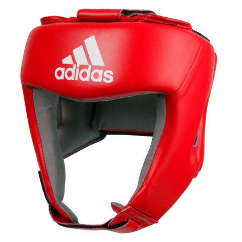 ADIDAS AIBA LEATHER HEAD GUARD - RED