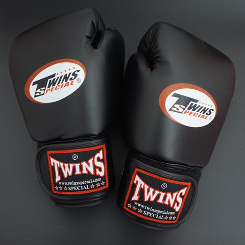 Twins Gloves (8 10 12 14 oz) Kick Boxing Gloves PU Leather