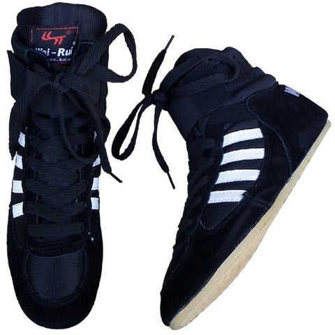Bull leather Boxing Shoes Mid-Top - Black