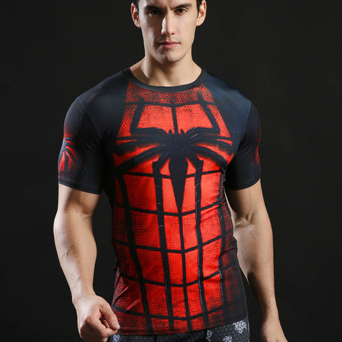 Spiderman Quick Dry Compression Fitness Short Sleeve MMA Rash Guard