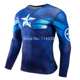 Captain America Long Sleeve Compression MMA Rash Guard