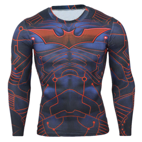 Batman Tron Quick Dry Compression Long Sleeve MMA Rash Guard