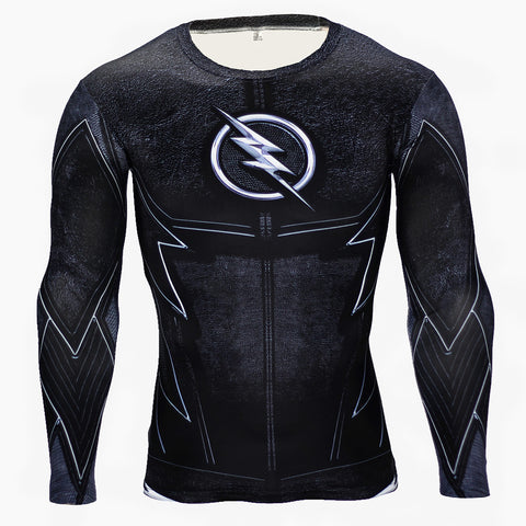 The Flash All Black Compression MMA Long Sleeve MMA Rash Guard