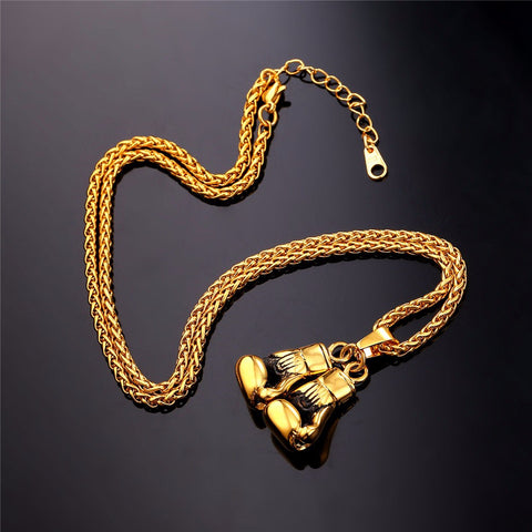Gold Colored Necklace & Pendant Stainless Steel Chain