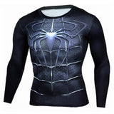 Black Spiderman Compression Quick Dry Long Sleeve MMA Rash Guard