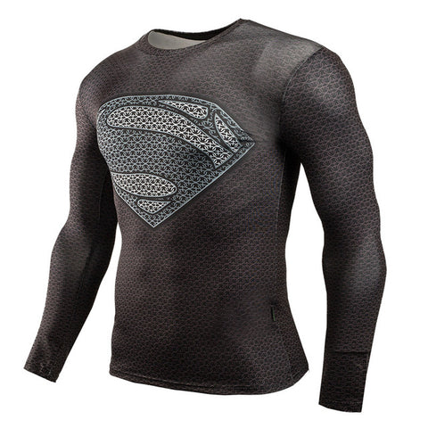 "Kryptonian ""Black"" Superman Compression Long Sleeve MMA Rash Guard"