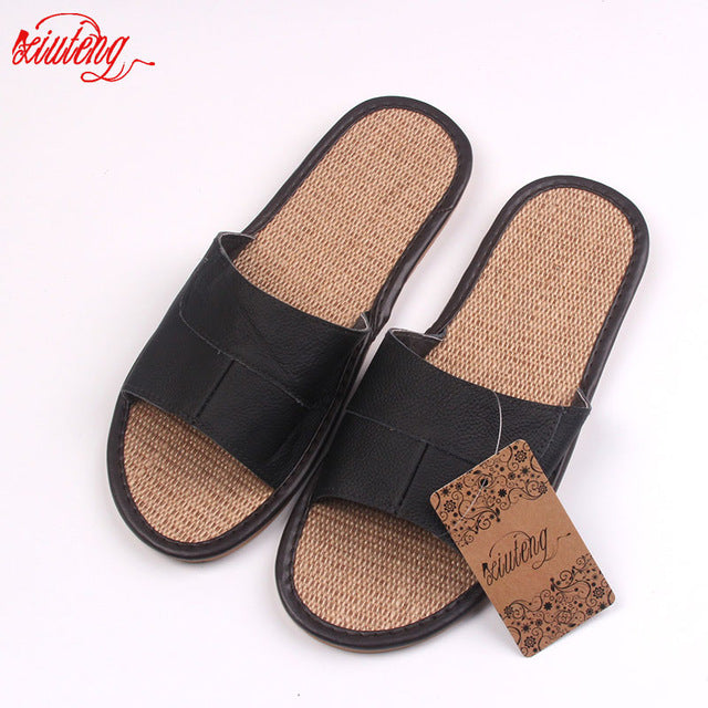 f47f290e710 New 2016 Famous Brand Casual Men Sandals Summer Leather Linen Slippers –  Sweet Science Boxing