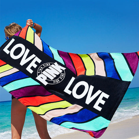Women Pink Love Design Beach Towel Geomertric Leaf Pattern Sport Bath Towel Absorbent 100%Cotton Bath Towel Washcloth