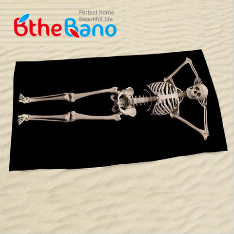 New Black Color Halloween 3D Human Skeleton Skull Large Bath Beach Towel Swim Bathroom Towel 140x70cm(55''x27'')