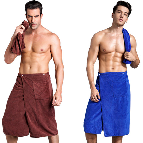 New Man Wearing Coral cashmere Bath Towel Absorbent Beach Towels Pocket Creative Bath Skirt Solid winter thickening soft