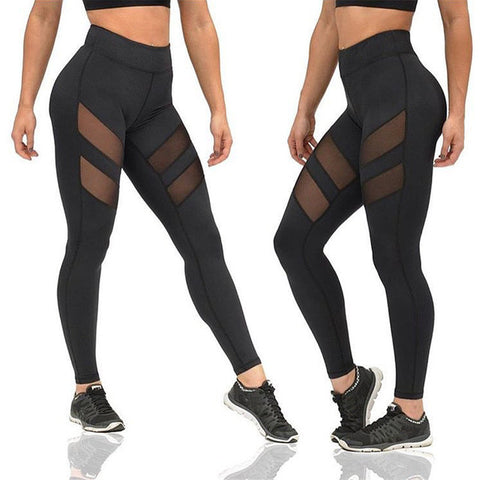 Double Mesh Stripe Women's Leggings Yoga Pants