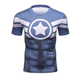 Captain America Quick Dry Compression Short Sleeve MMA Rash Guard