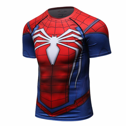 Spiderman Short Sleeve Quick Dry Compression MMA Rash Guard