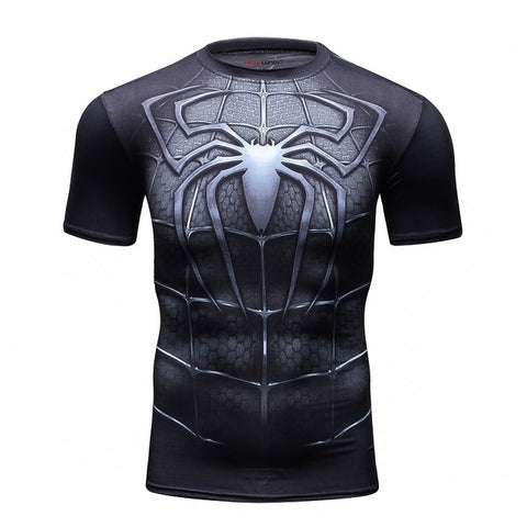 Black Spiderman Short Sleeve Compression MMA Rash Guard