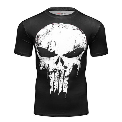 The Punisher Short Sleeve Quick Dry Compression MMA Rash Guard