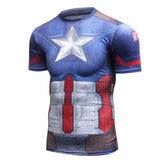 Captain America Short Sleeve Compression MMA Rash Guard