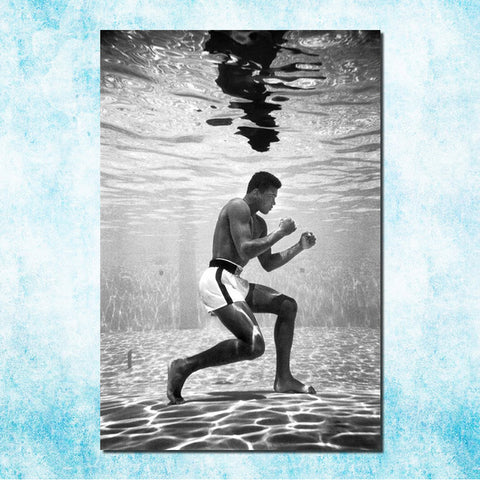 Muhammad AliUnderwater Art Silk Canvas Poster