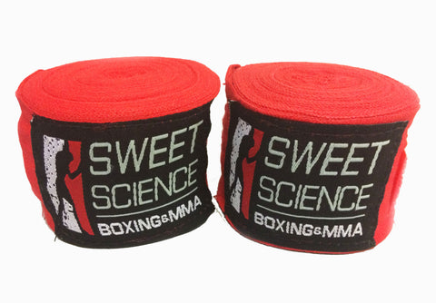 "Sweet Science Boxing Hand Wraps 180"" - Red - Sweet Science Boxing"