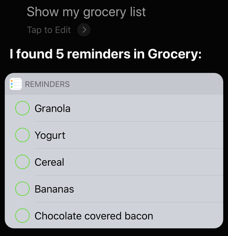 Siri, reminder lists