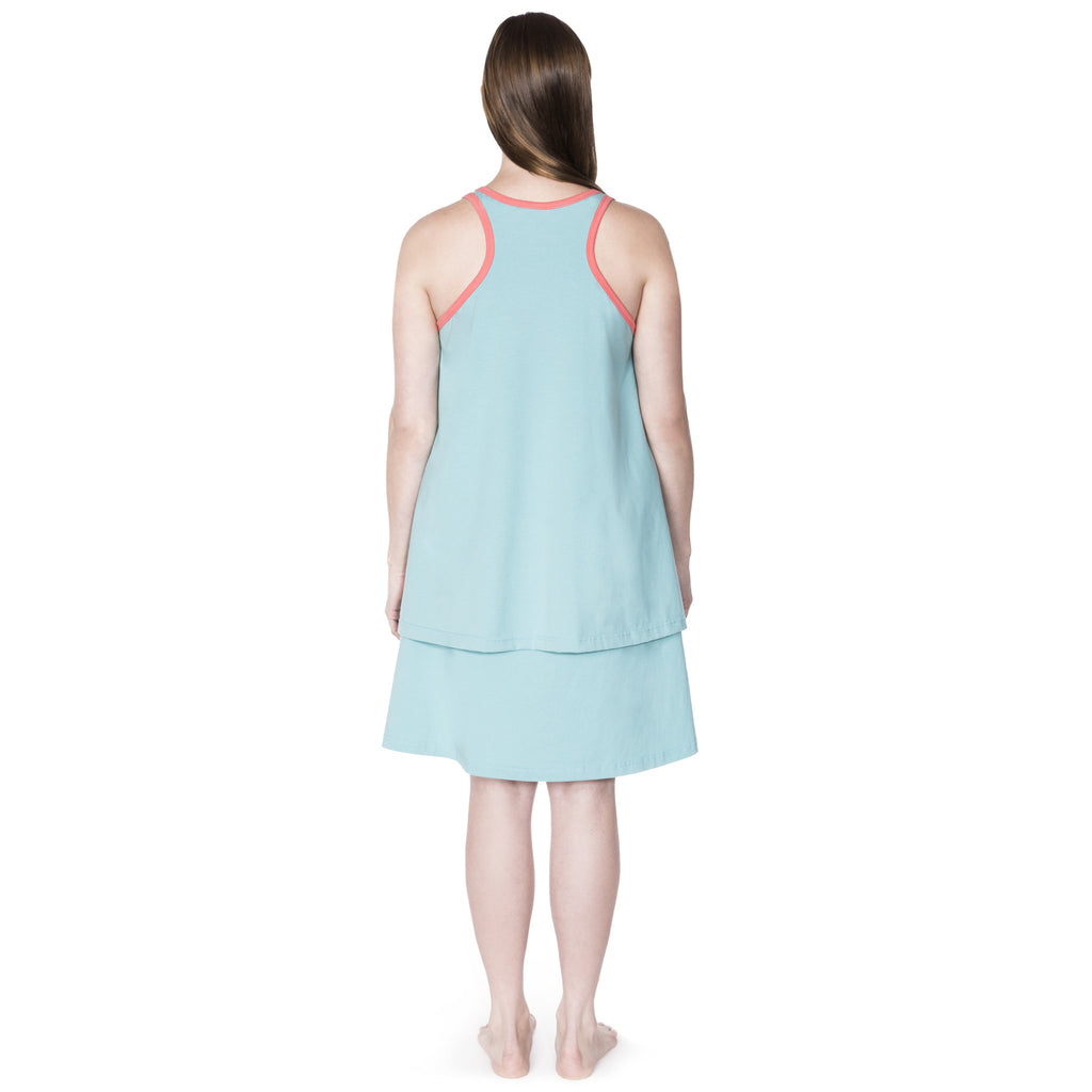Happy Birthwear Skirt & Tank Top in Aqua (back)