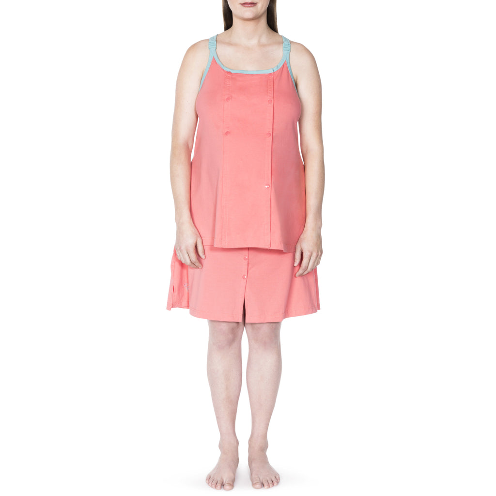 Happy Birthwear Skirt & Half Top in Coral
