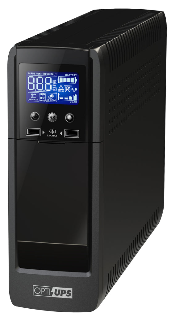 OPTI-UPS PS1500E Sinewave Line Interactive Uninterruptible Power Supply (1500VA/900W) UPS Battery Backup AVR Surge Protection 10-Outlets ( 5-Battery / 5-Surge ) – works with Active PFC PC Power Supply