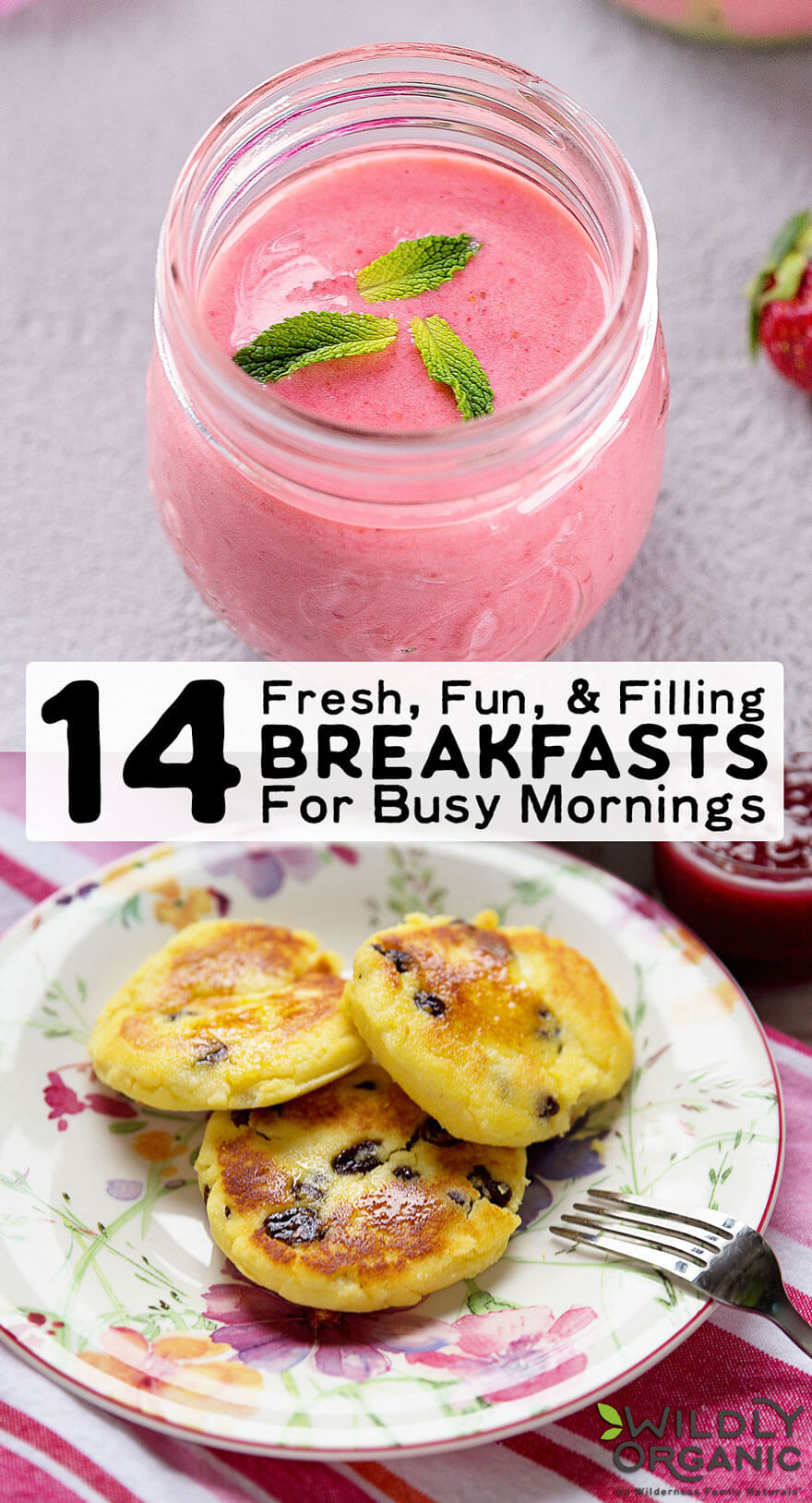 14 Fresh, Fun, & Filling Breakfasts For Busy Mornings | The start of a new school year means it's time to think about the most important part of your child's day... Breakfast! Add these fresh, fun, and filling breakfasts for busy mornings to your arsenal and say hello to stress-free mornings! | WildlyOrganic.com