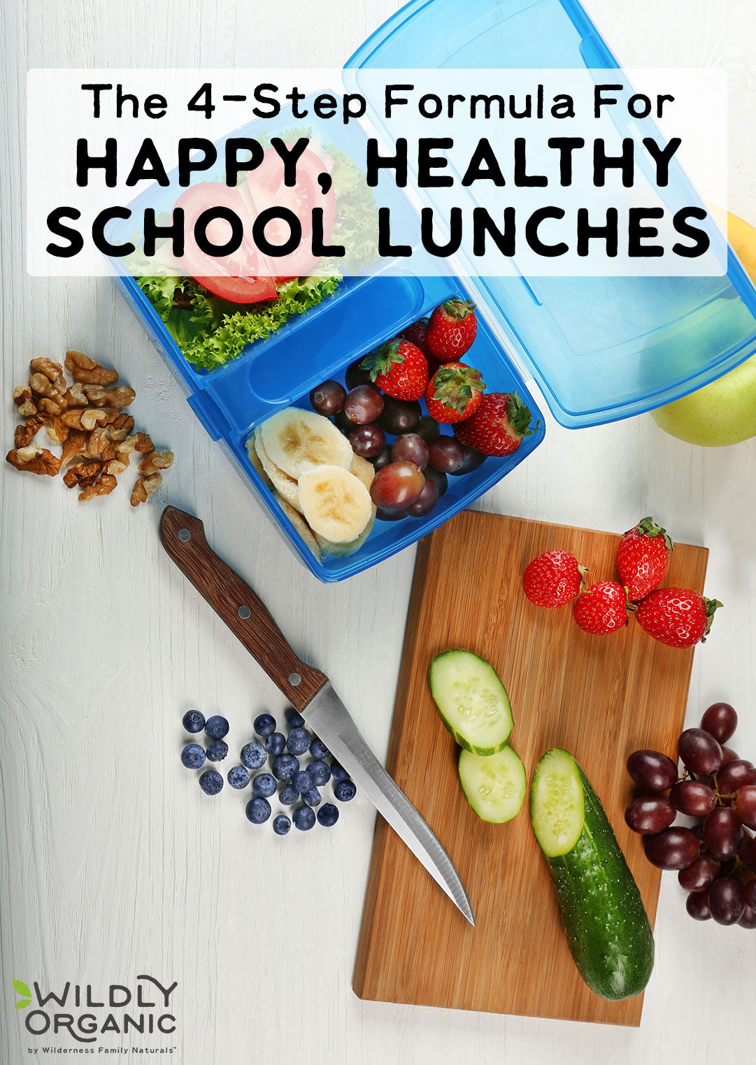 4-Step Formula For Happy, Healthy School Lunches | Back to school means back to packing lunches! And we don't mean plastic-wrapped crackers, cheese, and processed lunch meat with some foil-covered pudding cup! A healthy lunch is just as necessary as a filling breakfast, and simple foods are the most nutritious. So here's an easy 4-step formula for happy, healthy school lunches! | WildlyOrganic.com