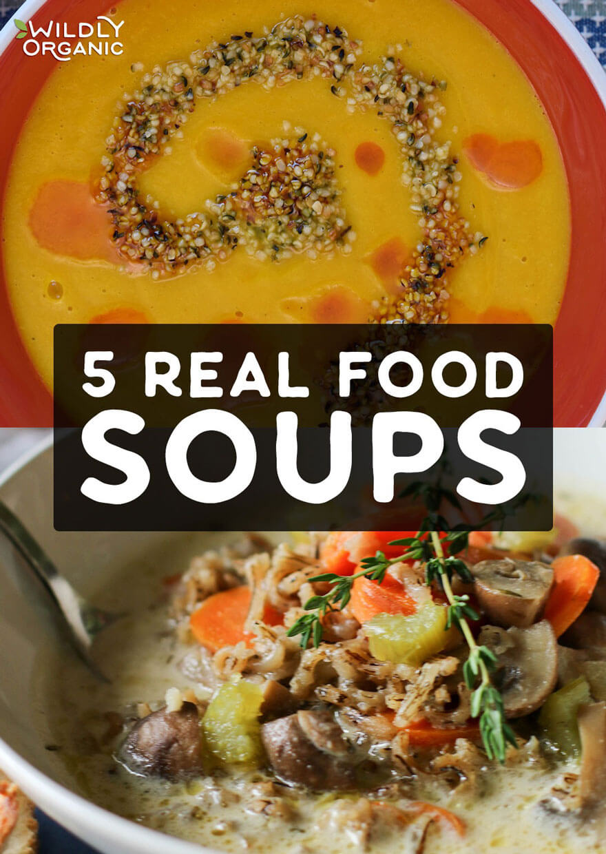 Photo of two different real food soups. | 5 Real Food Soups | When the weather gets cooler, dig right into a comforting bowl of soup that is nutritious, too. We have you covered with these 5 Real Food Soup Recipes! #realfood #soup #allergyfriendly #dinnerrecipes #dinner #easyrecipes #fallfood
