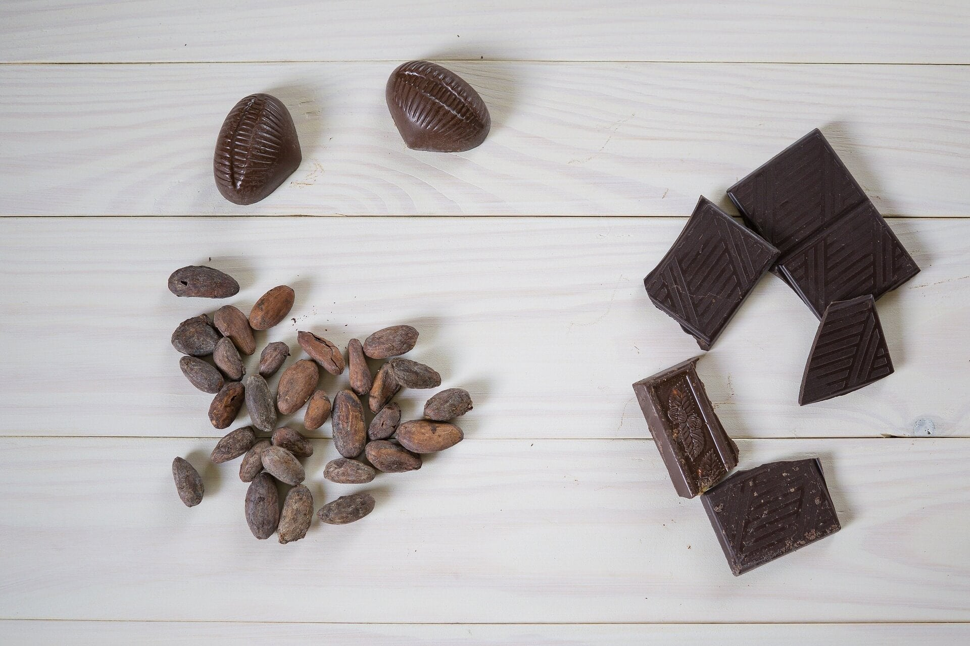 Cocoa beans and broken pieces of dark chocolate on a white wooden surface