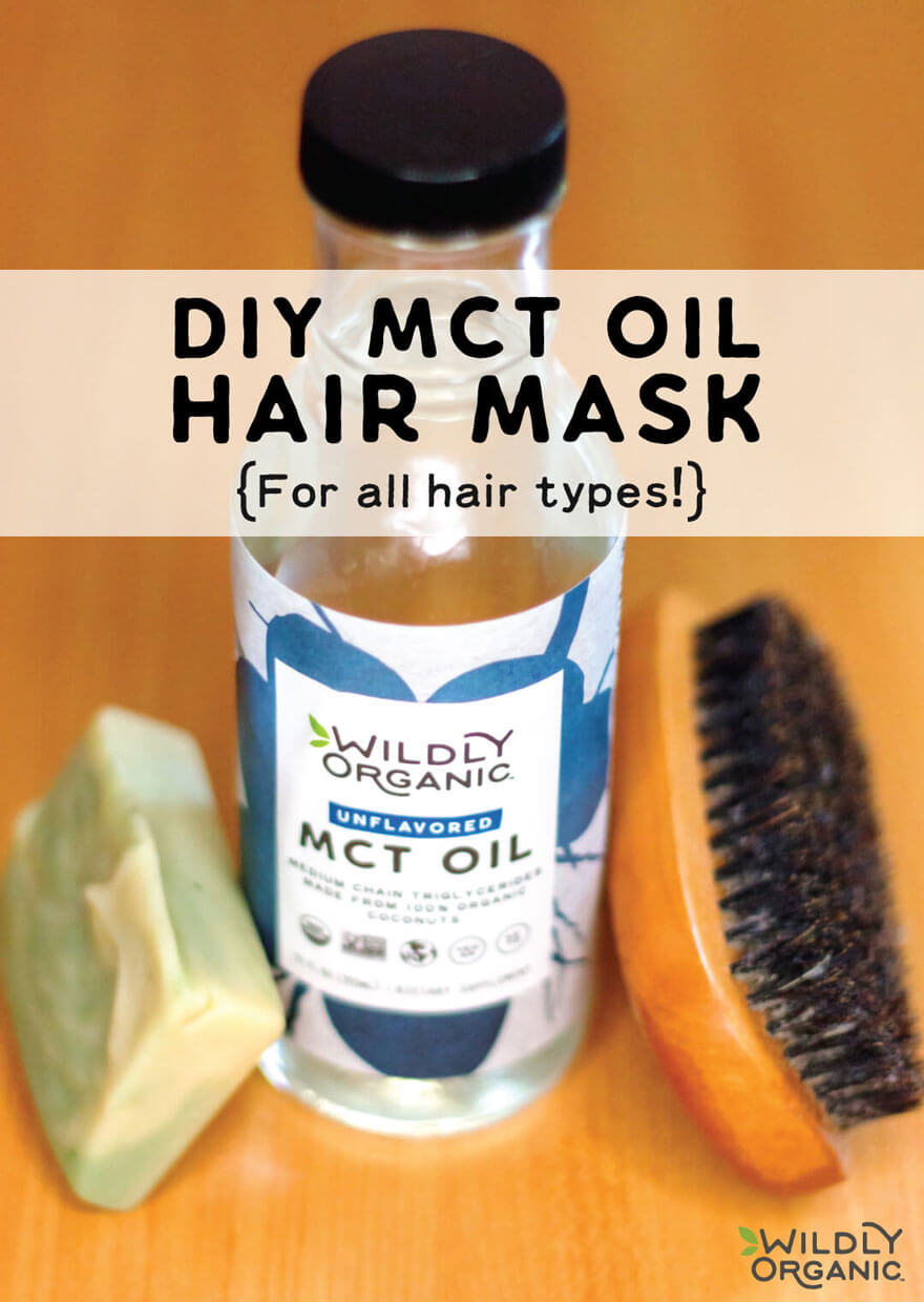 A photo of a bottle of Wildly Organic MCT Oil with a brush to make a MCT oil hair mask.