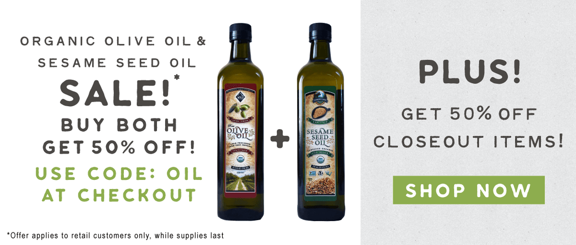 Buy Organic Olive Oil/Sesame Seed Oil or Closeout Products at 50% Off from Wildly Organic