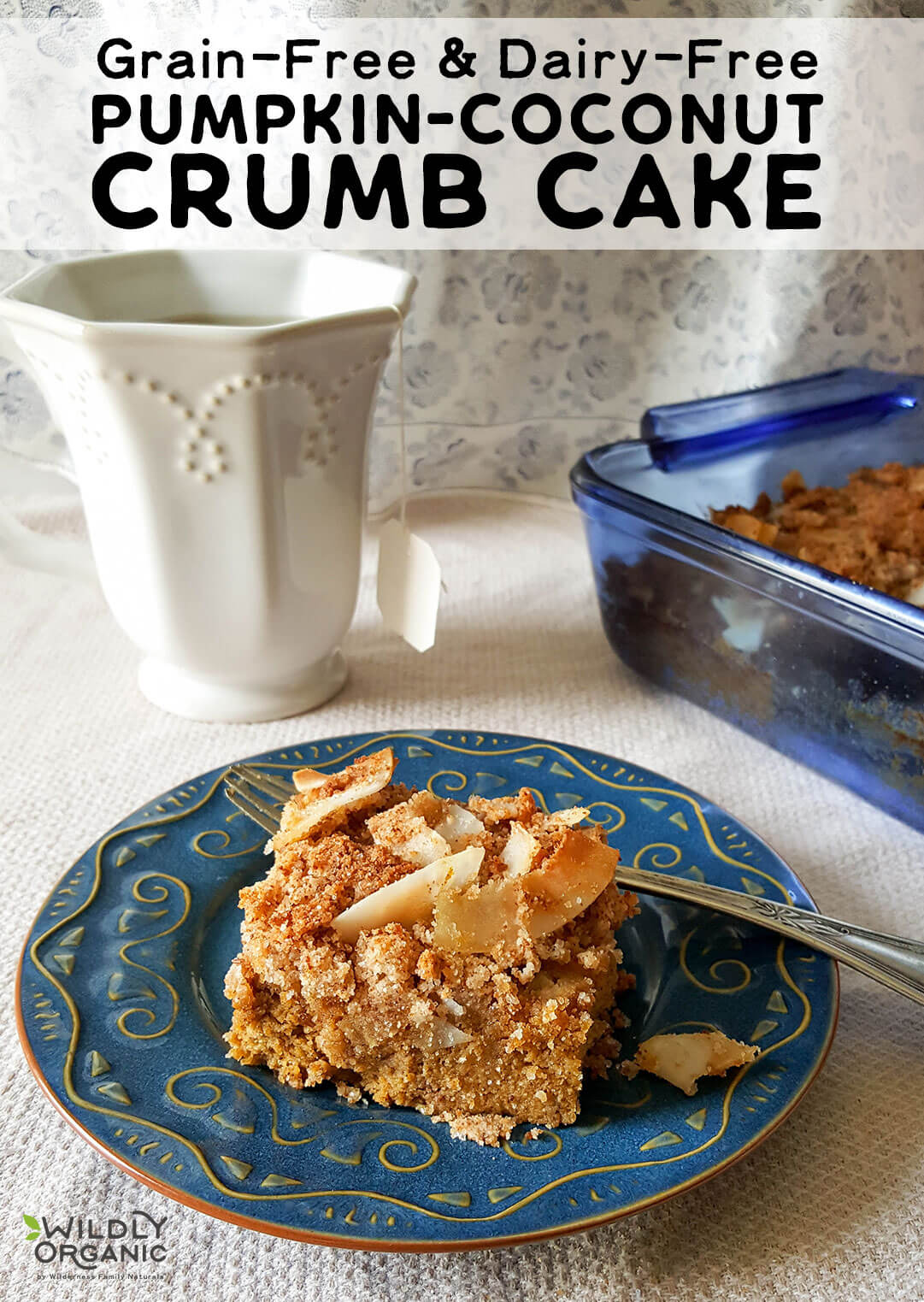 Grain-Free & Dairy-Free Pumpkin-Coconut Crumb Cake | Is there ever a time when pumpkin doesn't sound delicious? An easy, grain-free, dairy-free Pumpkin-Coconut Crumb Cake is perfect for cool fall afternoons with a hot mug of coffee or tea. Because pumpkin. Its nourishing goodness knows no seasonal limits. | WildlyOrganic.com