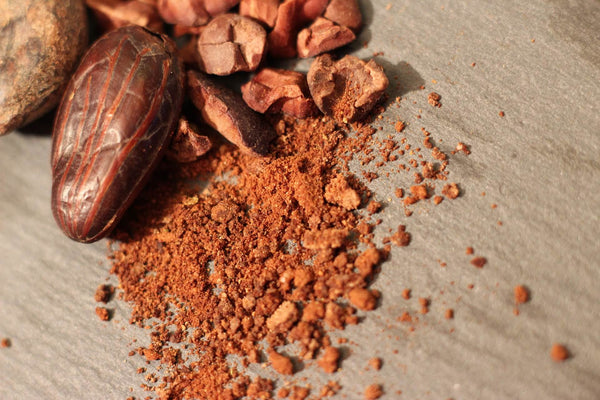 Crushed cacao beans on a flat surface