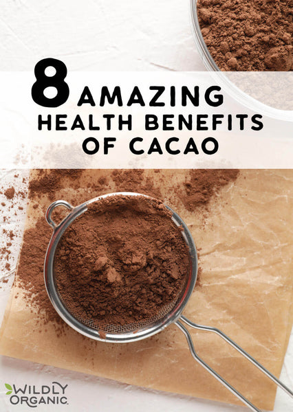 Cacao powder in a handheld mesh strainer