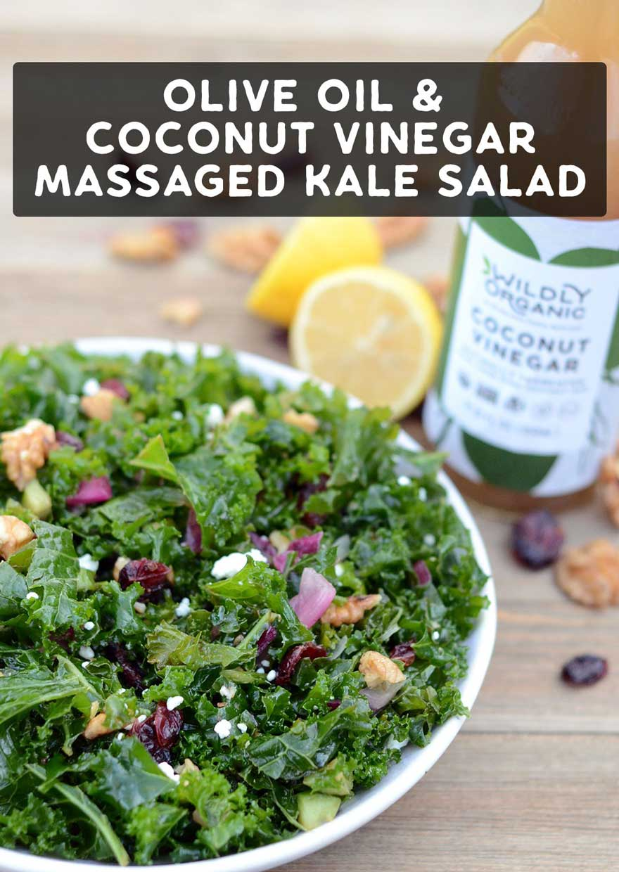 Need a delicious recipe with a powerful nutritional punch to jumpstart your healthier eating goals in 2018? This colorful, Clean-Eating Olive Oil and Coconut Vinegar Massaged Kale Salad is delicious as a side dish or topped with healthy protein to make a complete meal.
