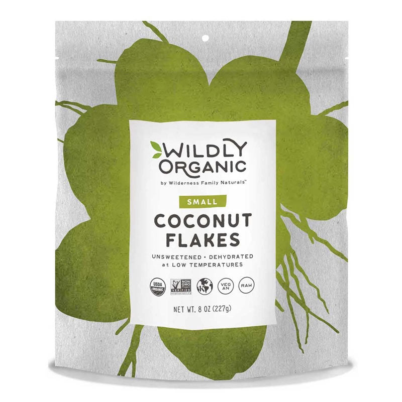 A bag of Wildly Organic coconut flakes
