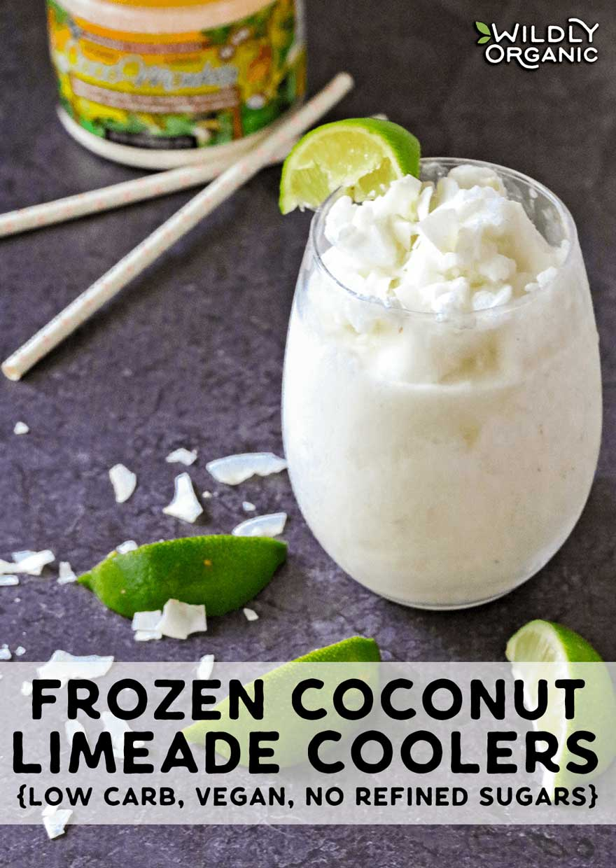A photo of a frozen coconut limeade cooler topped with a ilme wedge and low carb Coco Monkey Sweetener in the background.