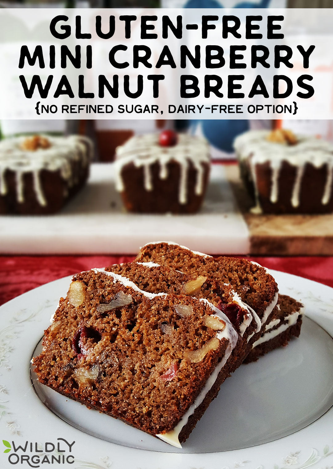 Photo of gluten-free mini cranberry walnut breads, with some sliced