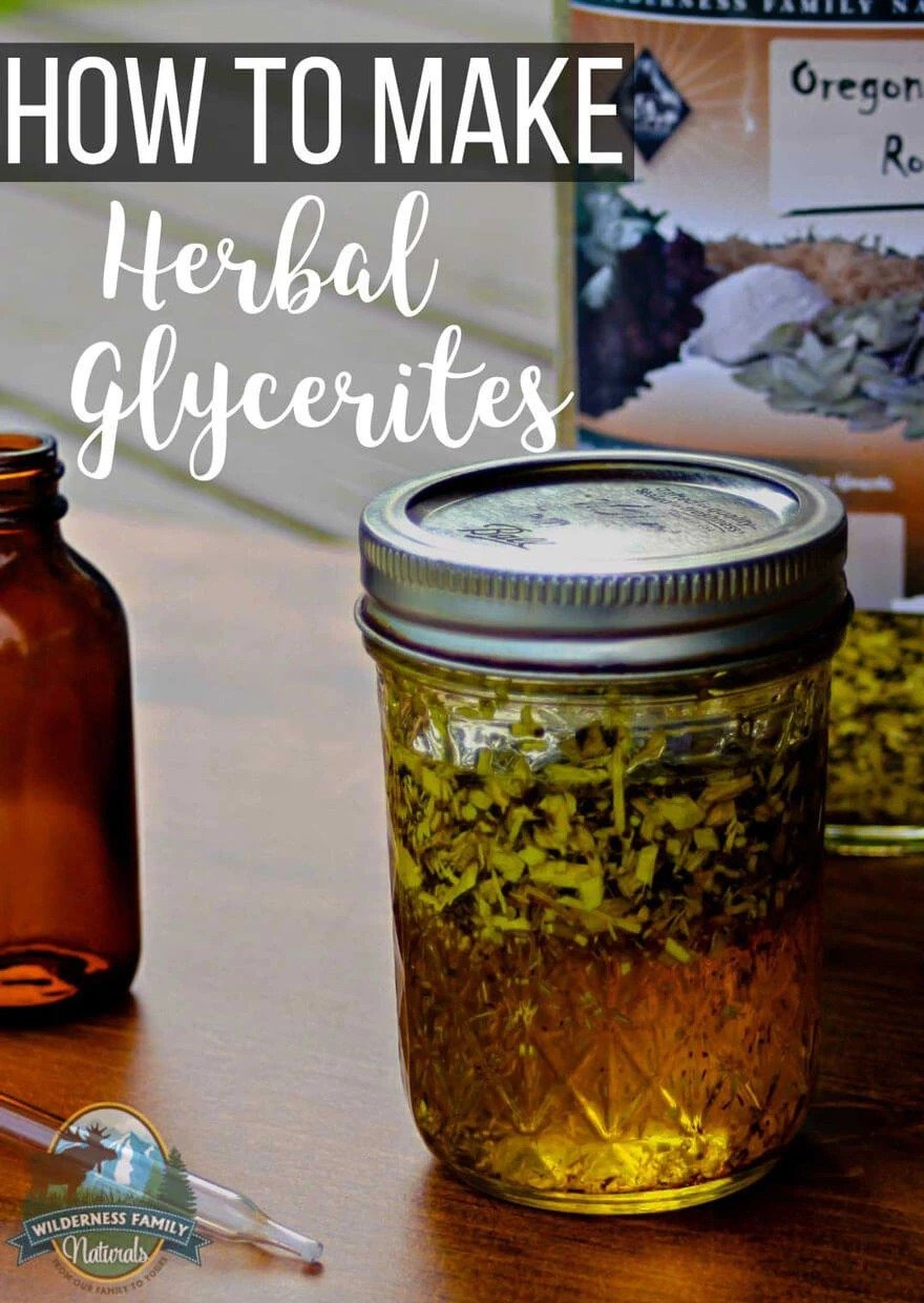 How To Make Herbal Glycerites + Ways To Use Glycerites Internally & Externally | Harness the power of herbal remedies by learning how to make herbal glycerites at home with just 2 ingredients and a little bit of time! Used both internally and externally, glycerites contain the concentrated benefits of herbs. | WildernessFamilyNaturals.com