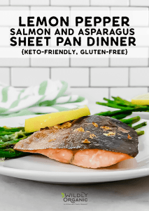 A photo of lemon pepper salmon and asparagus on a plan for an easy sheet pan dinner.