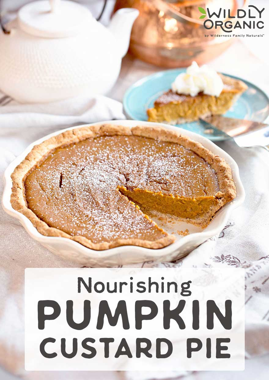 Nourishing Pumpkin Custard Pie   Without highly processed evaporated or condensed milk, Nourishing Pumpkin Custard Pie is gluten-free and contains healthy fats plus all the nutritional benefits of pumpkin. Coconut sugar adds elusive caramel flavor to our take on Fall's most popular pie.   WildlyOrganic.com