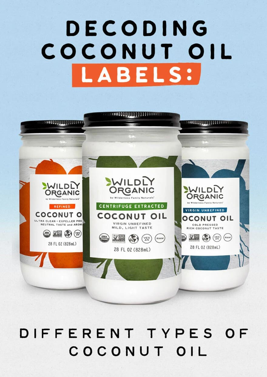 Three different types of coconut oil