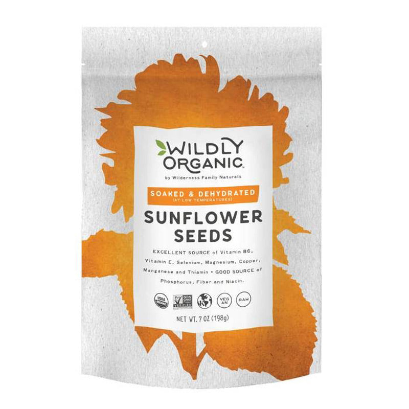 A package of Wildly Organic raw organic sunflower seeds